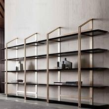 Book-Shelf Metal with Veneer/stainless-Steel Frame Gilding 200cm 10x-Pack High-190cm-Width