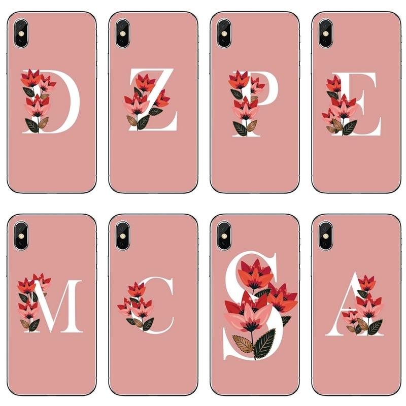 TPU Cover Case Pink Floral monogram Alphabet For Samsung Galaxy Note 10 9 8 5 4 S10E S10 Lite S9 S8 S7 S6 Edge Plus S5 S4 Mini