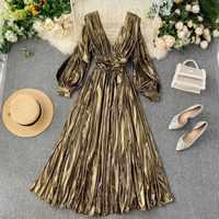 NiceMix European Runway Dress Women High Quality Vintage Gold V Neck Long Lantern Sleeve Mid Dress 2019 Autumn Split Pleated Dre