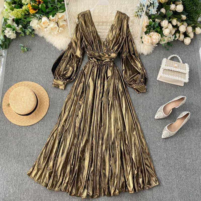 Nicemix europeu runway vestido feminino de alta qualidade do vintage ouro com decote em v longo lanterna manga meados vestido 2019 outono split plissado dre