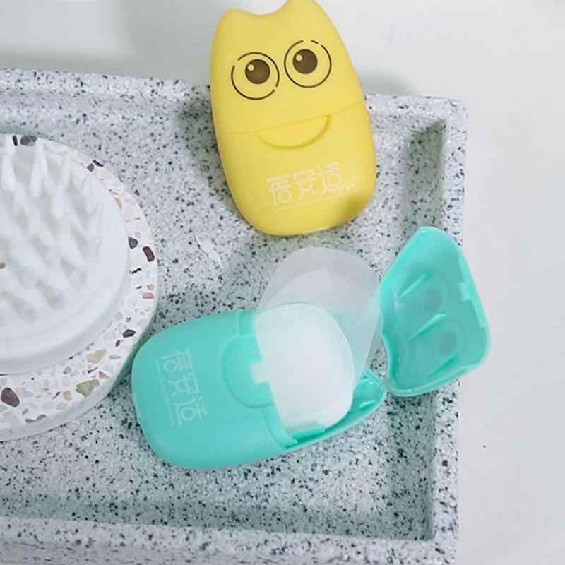100/40/20 Pcs Reizen Draagbare Wegwerp Boxed Zeep Papier Maken Schuimende Geurende Bad Wassen Handen Mini Papier zeep Willekeurige Kleur