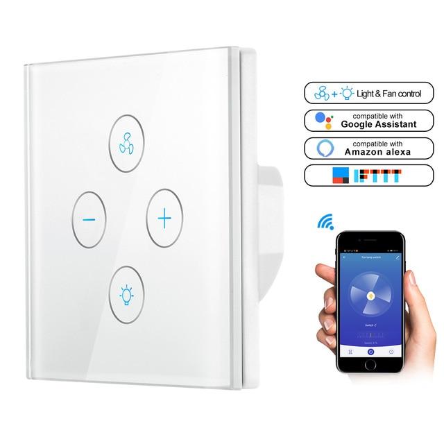 Wifi Smart Plafond Ventilator Licht Wandschakelaar Leven Tuya App Remote Diverse Snelheidscontrole Interruptor Compatibel Voor Alexa Google Thuis