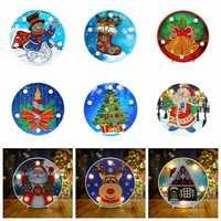 5d diy pintura diamante lâmpada led decoração de natal para casa papai noel natal feliz ano novo decoração para casa