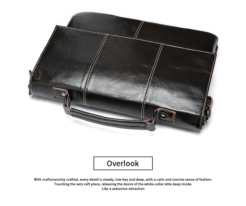 Hde342b3eaa804c73b39df27aa67e0af1J Bag Men's Briefcase Genuine Leather Office Bags for Men Leather Laptop Bags Shoulder/Messenger Bag Business Briefcase Male 7909