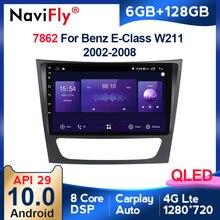 6G + 128G QLED الروبوت 10 4G سيارة مشغل راديو GPS لمرسيدس بنز الفئة E W211 E200 E220 E300 E350 E240 CLS الدرجة W209 W219 BT
