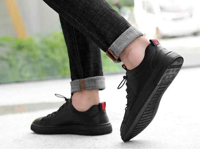 ผู้ชายรองเท้าผ้าใบสีดำรองเท้าสบายๆ Breathable หนัง Tenis รองเท้ากีฬารองเท้าวิ่งรองเท้าผ้าใบบุรุษหล่อ Basic เดินรองเท้า