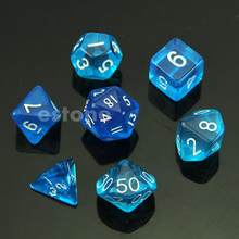 Juego de poli juego de 7 dados D4 D6 D8 D10 D12 D20 Magic-the-Gathering D & D RPG azul(China)