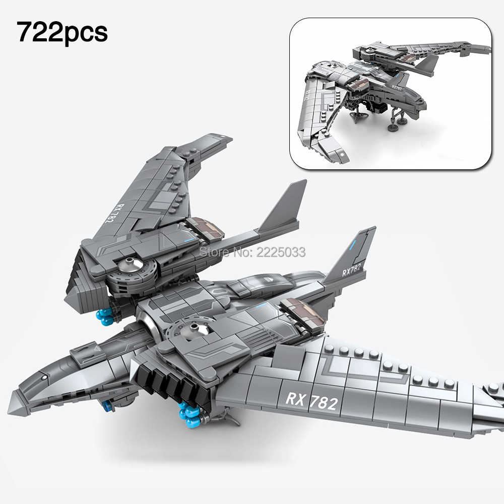 Movie Series Shanghai Fortress Unmanned drone Model Compatible legoingly Alien Bricks Building Blocks Toys For Children Gift