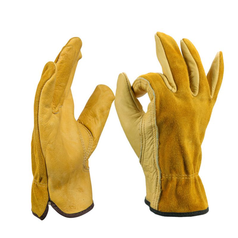 1 Pair Work Gloves Cowhide Security Protection Wear Welding Moto Hunting Gloves 4