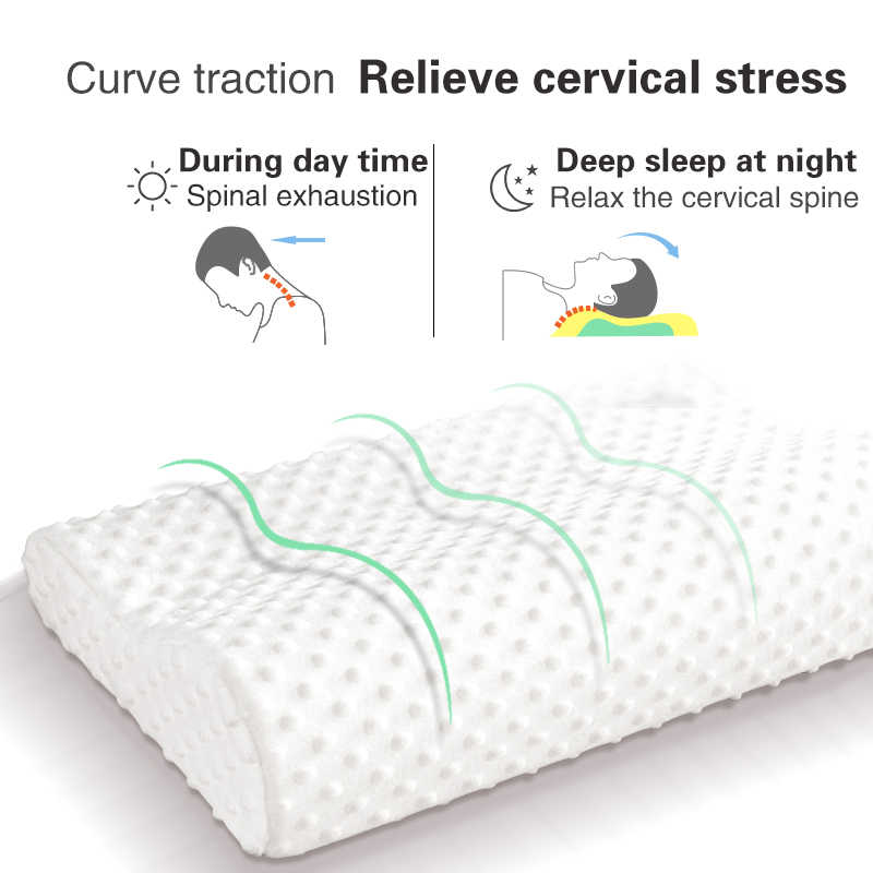 Memori Busa Bantal Ortopedi Bantal Tidur Lateks Leher Serat Lambat Rebound Lembut Bantal Massager Serviks Perawatan Kesehatan