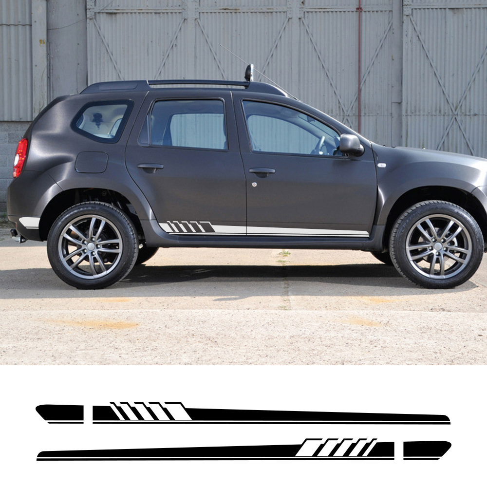 2Pcs Car Long Side Door Stickers For Renault Dacia Duster Logan Sandero Auto Vinyl Film Decals Styling Car Tuning Accessories