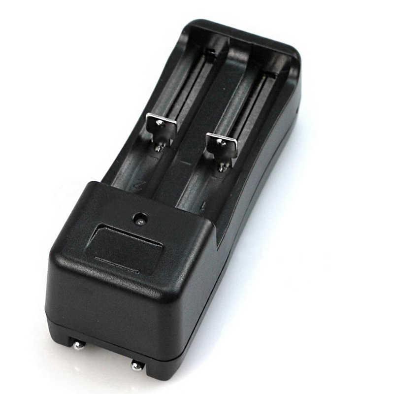 Dual Baterai Universal Charger untuk 2 Baterai Lithium Battery 18650 16340 Isi Ulang 3.7V Li-ion Baterai Hitam