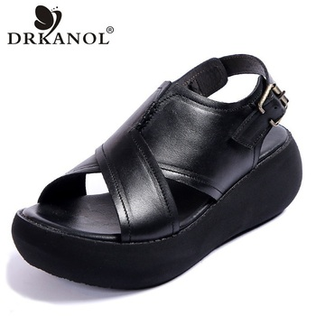 цена на DRKANOL 2020 Women Genuine Leather Sandals Summer Wedge Platform Gladiator Sandals Women Open Toe Retro Casual High Heel Sandals
