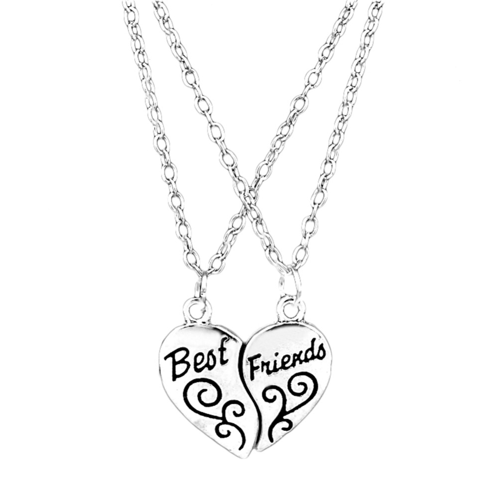 Hot Selling Two Pieces Combination Alloy Necklace Heart Shape Pendent Carved Best Friends Girlfriends Gift image