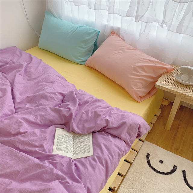 Korean Simple Bedding Set Aesthetic Modern Design Bedding Set For Girls Space Bedroom Colchones De Cama Four Piece Suit BD50CJ 2