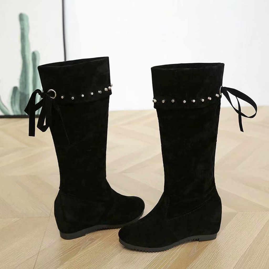 Kadın Retro perçin çizmeler kış kayış kar diz Bootie sıcak rahat sıcak kaymaz ayakkabı bayanlar için kadın diz yüksek uzun çizmeler