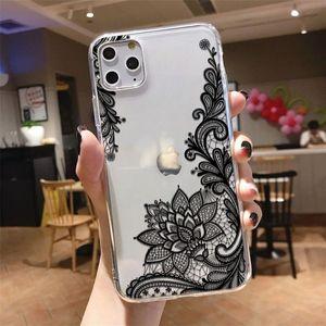 Сексуальный кружевной черный ТПУ мягкий резиновый чехол для телефона iphone 12 11 Pro XS MAX XR 8 7 6 6S Plus X 5 5S SE