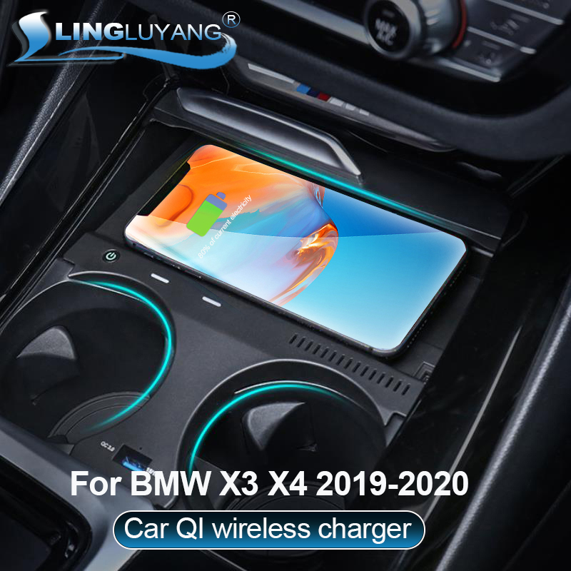 Suitable for <font><b>BMW</b></font> X3 X4 2019 2020 car QI wireless <font><b>charger</b></font> charging plate mobile phone holder accessories image