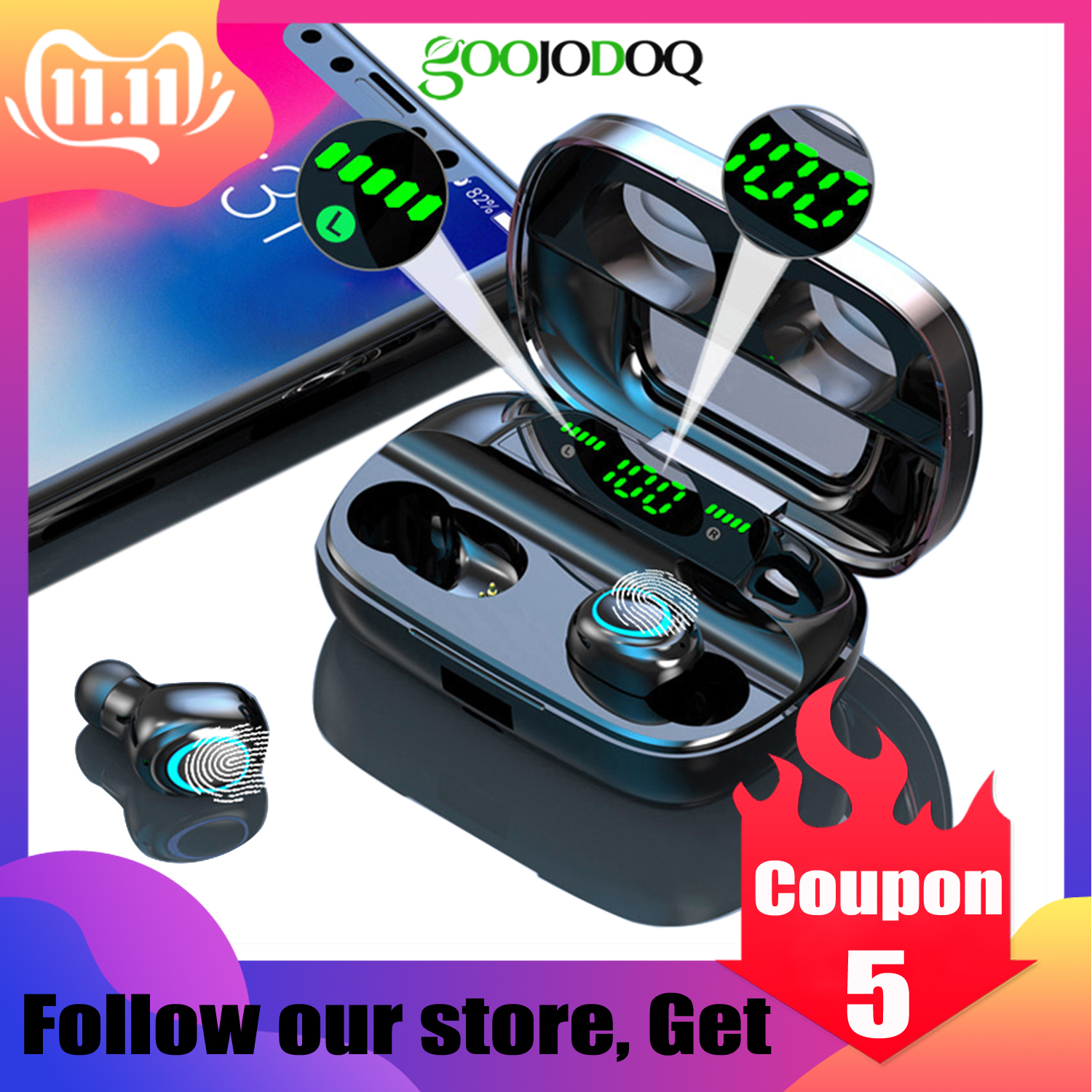 IPX7 Waterproof Bluetooth Earphone 8D Stereo Wireless Headphones Headset With 3500mAh Power Bank G6s TWS 5.0 Bluetooth Earbuds