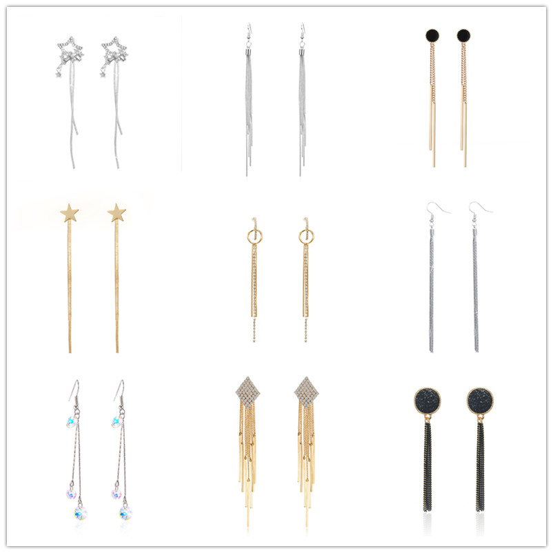 Wholesale Jewelry New 2019 Trendy Vintage Chain Luxury Rhinestone Geometric Earrings European Long Tassel Earrings Accessories