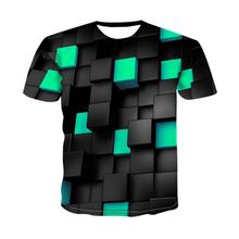 Summer Men T-shirt 3D Digital Printing Tshirt Cool Chequered Diamond T shirt Men/Women Leisure Short sleeve Shirt