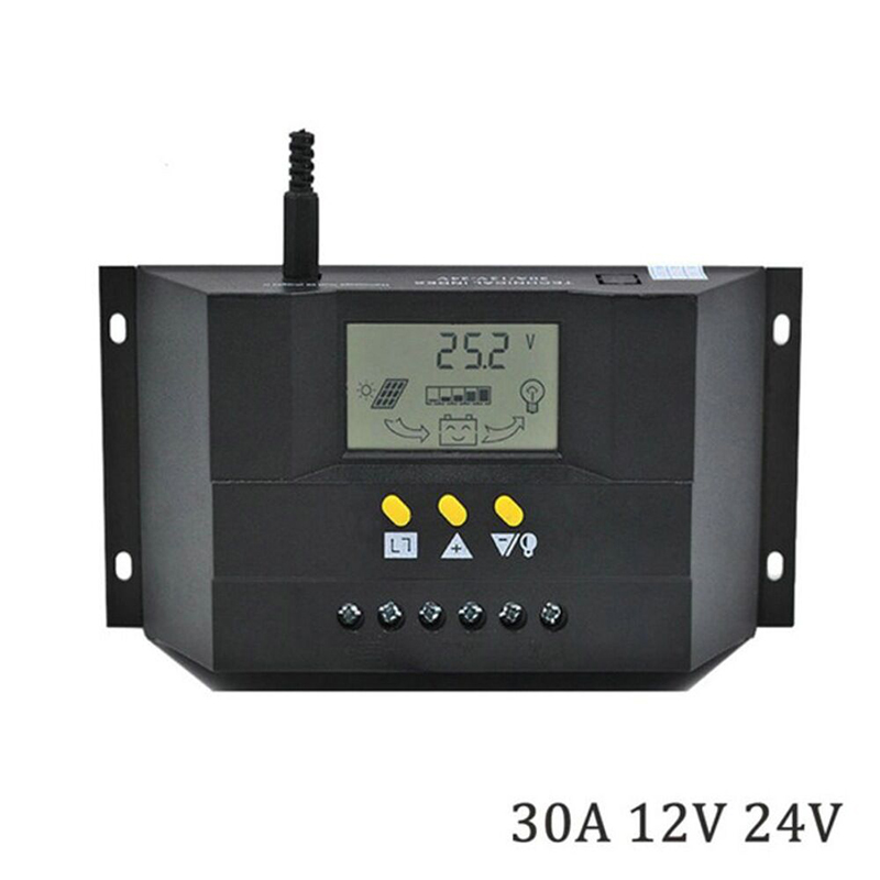 LCD Display <font><b>Solar</b></font> <font><b>Charge</b></font> <font><b>Controller</b></font> <font><b>Solar</b></font> Panel <font><b>Controller</b></font> Regulator 12-24V <font><b>30A</b></font> Intelligent <font><b>PWM</b></font> <font><b>Charge</b></font> Mode image