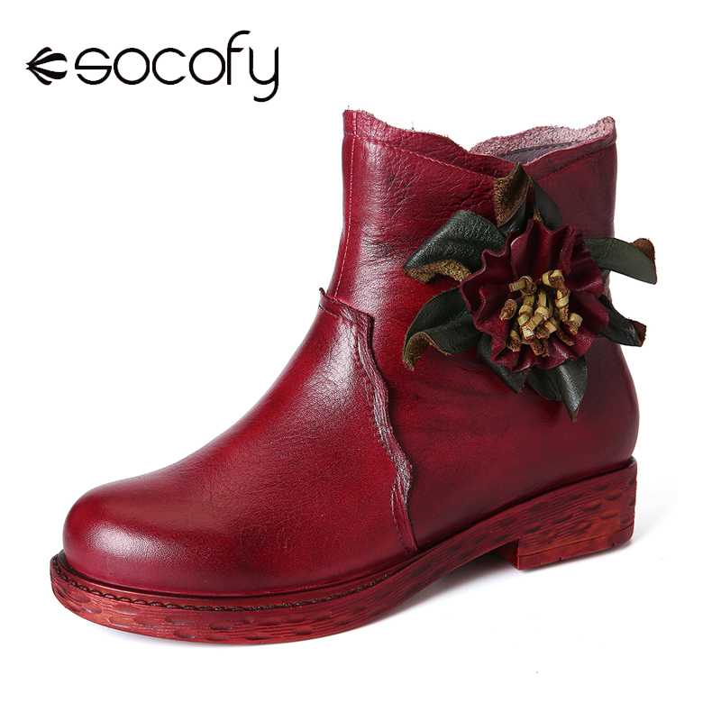 SOCOFY Retro Boots Solid Color Handmade Flower Genuine Leather Soft Flat Short Boots Design Shoe Woman Shoes Botas Mujer 2020