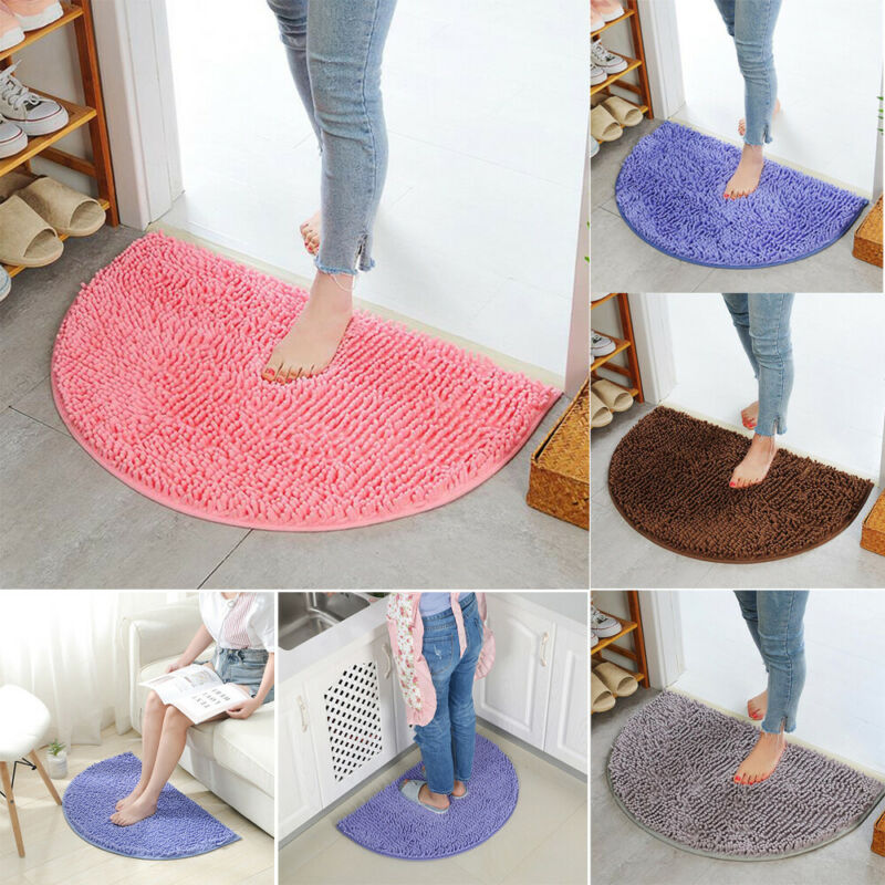 40x60cm Non Slip Dirt Barrier D Shape Semi Circle Half Moon Floor Door Mat Rug Chenille Wholesale