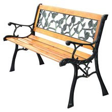 "Sturdy Cast Iron Hardwood 49 1/2"" Patio Park Garden Porch Chair Bench Comfortable PVC Rose Backrest Mesh Outsoor Benches OP2784(China)"