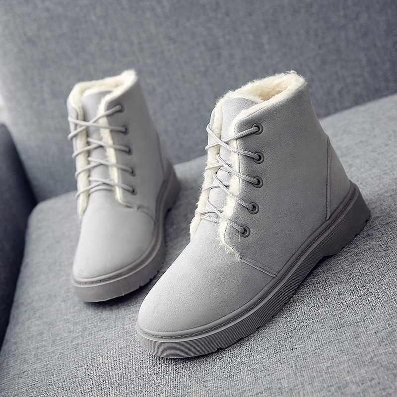 Çift kadın botları 2019 kış ayakkabı kadın erkek botları büyük peluş İç Botas Mujer su geçirmez avustralya çizmeler kadın patik