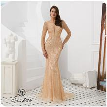 NEW Arrival 2020 St.Des Mermaid V-Neck Long Sleeve Russian Champagne Sliver Floor Length Evening Dress Party Gown