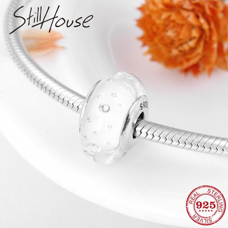 Genuine 925 Sterling Silver Transparent White Murano Bubble Glass Beads Fit Original Pandora Charm Bracelets DIY Jewelry