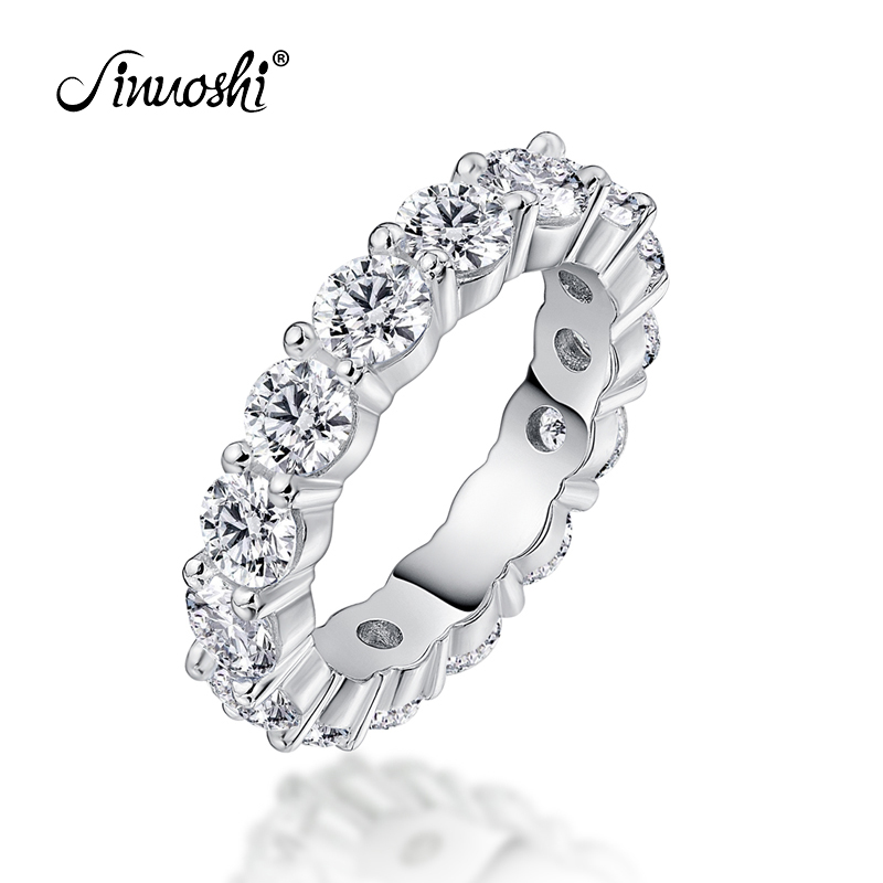 AINUOSHI 925 Sterling Silver Wedding Engagement Full Enternity Rings Anniversary Round Cut Ring Silver Women Bridal Ring Jewelry-in Wedding Bands from Jewelry & Accessories