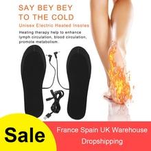 Зимние грелки, электрические Обогреваемые стельки для обуви, теплые носки, обогреватель ног, USB зарядка, можно резать стельки для ног, один размер подходит всем