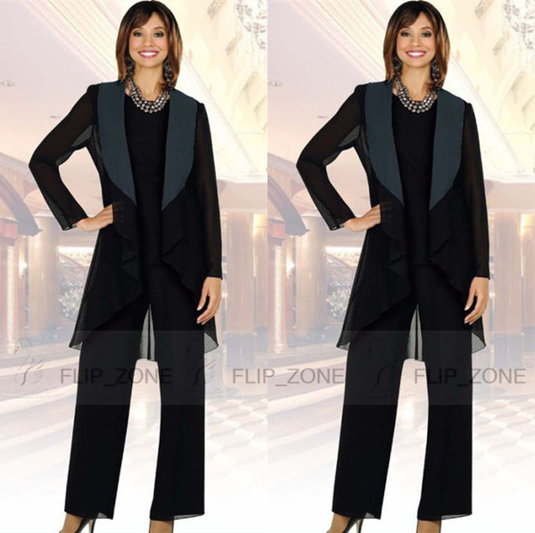 Black Mother Of The Bride Dresses Pant Suits With Long Jacket Retro Three Piece Mother's Formal Wear Evening Groom Madrinha
