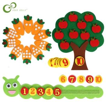 1-10 Montessori Educational Toy Children's Puzzle Handmade DIY Toy Kindergarten Carrot Apple Tree Match Digital Teaching GYH 1