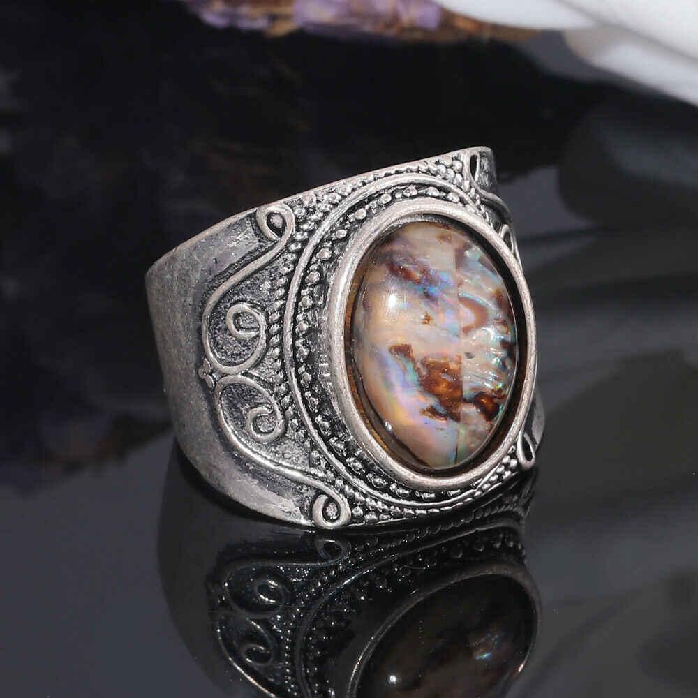 CiNily Vintage pierre d'ormeau naturelle argent homme et femmes bijoux bague cadeau 6-10 NJ438
