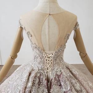 Image 5 - HTL1228 2020 árabe vestido de noche cuello lentejuelas cristal patrón de vuelta lujoso vestido de noche nuevo платья вечерние