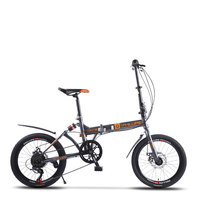 Bike Folding Bicycle 20 Inch Speed Double Disc Brake Shock Absorption Aluminum Alloy Rim Student Adult Men and Women