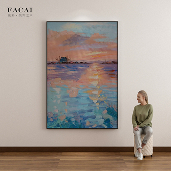 Handmade Oil Painting Abstract Seaside Sunset Painting Decorative Painting Living Room Wall Painting Home Decor Wall Art