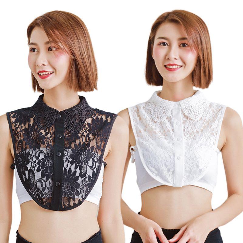 2019 Female Detachable Half-Shirt Necklace Hollow Floral Lace Wings Lapel Fake Collar