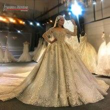 أماندا نوفيس تصميم جديد فستان زفاف فاخر كم طويل فستان الزفاف 2020