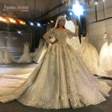 Amanda novias novo design vestido de noiva de luxo manga longa vestido de noiva 2020