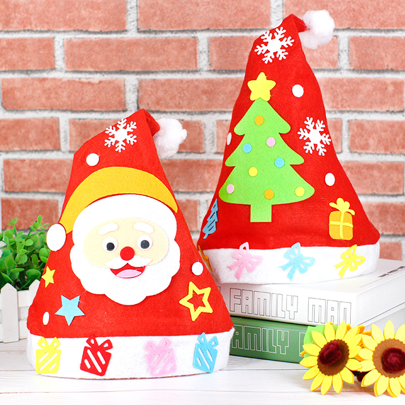 NEW Christmas Decoration Crafts Hat Kindergarten Lots Arts Crafts Diy Toys Puzzle Crafts Kids For Children's Toys Girl/boy Gift