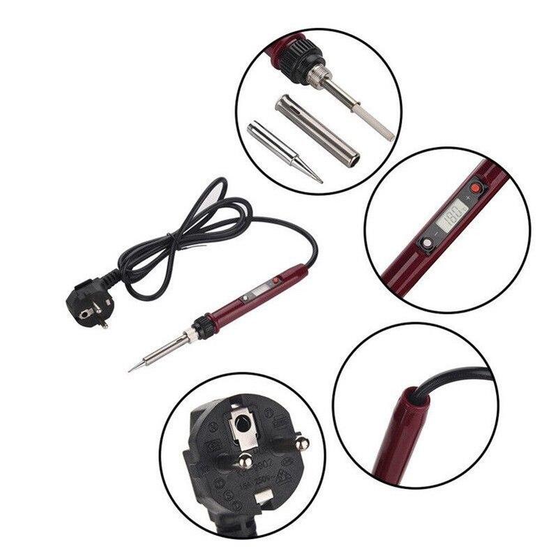 80 Вт 220 В Электрический паяльник сварочный инструмент ручной припой провода Пинцет ЕС вилка