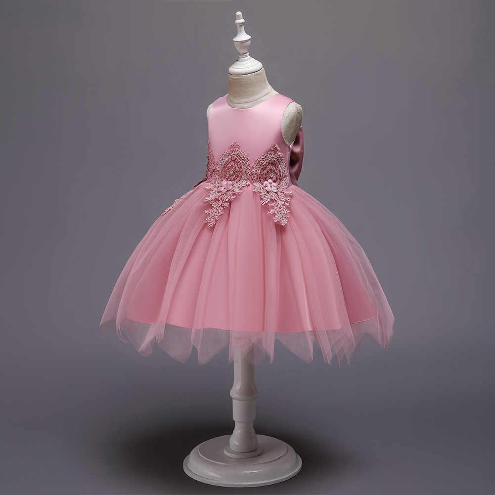 זה Yiiya פרח ילדה שמלה עבור בנות אפליקציות תחרה ילדים פרח חג המולד כדור שמלות טנק קצר ראשית הקודש שמלות 183
