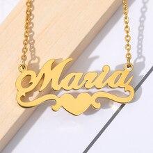 Handmade изготовленные на заказ имя персонализированные ожерелья для женщины мужчины ювелирные изделия из нержавеющей стали золото заполненные в форме сердца заявление ожерелье бижутерии