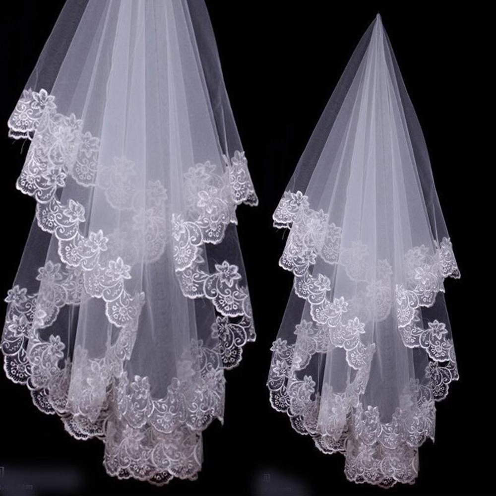Short Appliques Wedding Veil White Ivory Lace Bridal Veils Wedding Veil 1.5M Length