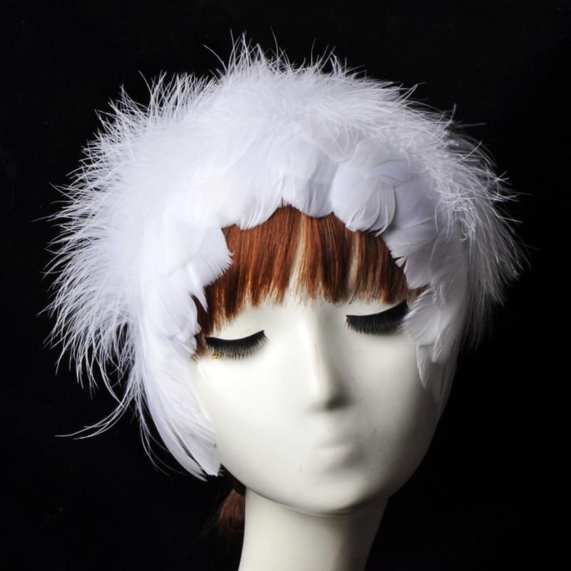 Swan Lake Ballet Performance Stage Dance Anchor Net Celebrity White Angel Headdress Feather Female Headband Super Fairy Catwalk