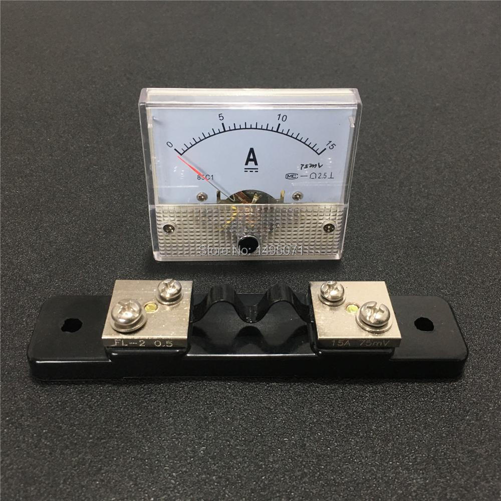Shunt Analog AMP Panel Meter Gauge DC 0~15A 85C1